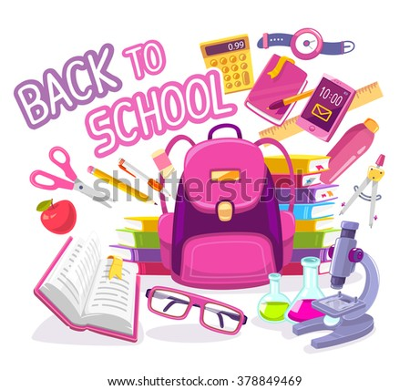 Vector colorful illustration of big pink backpack with many student items on white background with text. Art design for web, site, advertising, banner, poster, flyer, brochure, board, paper print. - stock vector