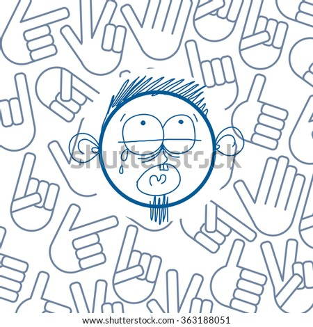 Vector colorful illustration of cartoon crying sad boy isolated on background with hand drawn design elements, social interaction idea. Facial expressions on teenager face.  - stock vector