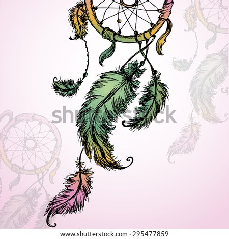 Vector colorful illustration of dream catcher - stock vector