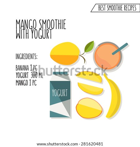 vector colorful illustration of mango and banana smoothie recipe in flat design style with text, view from the top, as template for restaurant or cafe menu, cocktail or smoothie recipe, print - stock vector