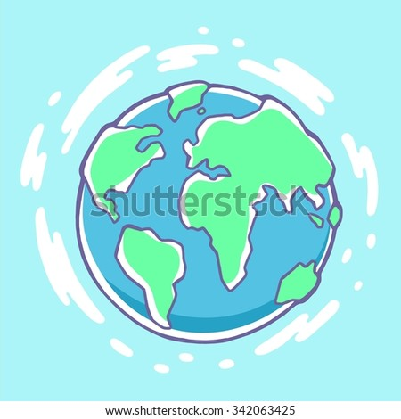 Vector colorful illustration of planet Earth on blue background with clouds. Hand draw line art design for web, site, advertising, banner, poster, board, brochure and print. - stock vector