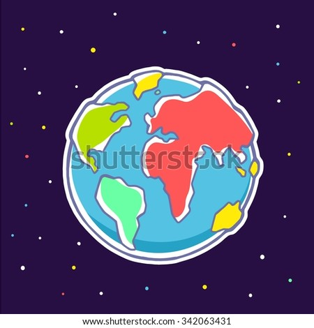 Vector colorful illustration of planet Earth on dark background with stars. Hand draw line art design for web, site, advertising, banner, poster, board, brochure and print. - stock vector