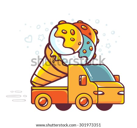 Vector colorful illustration of red car takes great yellow ice cream on white background. Hand drawn line art design for web, site, advertising, banner, poster, board and print.  - stock vector