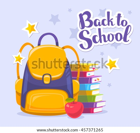 Vector colorful illustration of yellow backpack, pile of books, apple and text back to school on blue background with stars. Bright design for web, site, advertising, banner, poster, brochure, board - stock vector