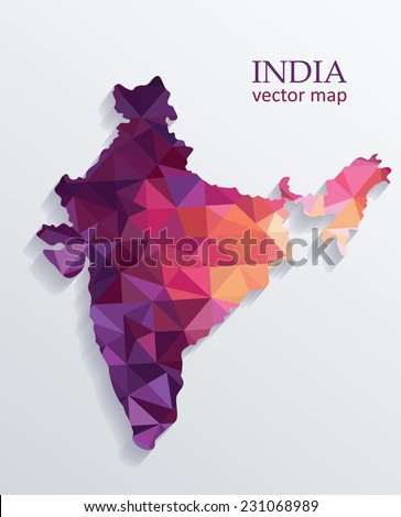 Vector Colorful India Map - stock vector