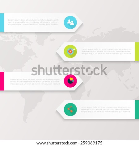Vector colorful info graphics for your business presentations. Can be used for info graphics, graphic or website layout vector, numbered banners, diagram, horizontal cutout lines, web design. - stock vector