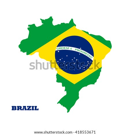 Vector colorful isolated brazil map silhouette with national brazilian flag  - stock vector