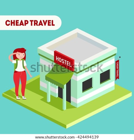 Vector colorful isometric illustration with hostel building and traveler girl - stock vector