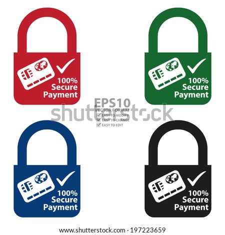 Vector : Colorful Key Lock With 100 Percent Secure Payment Sign Label or Sticker Isolated on White Background  - stock vector