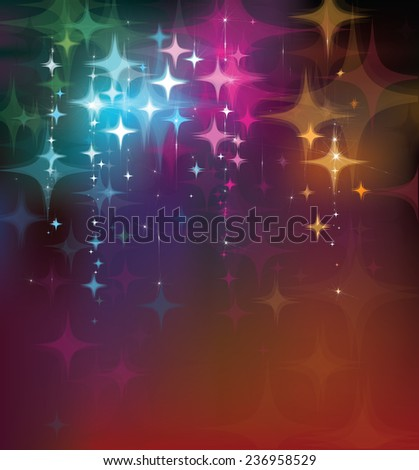Vector colorful lights and stars  background. - stock vector