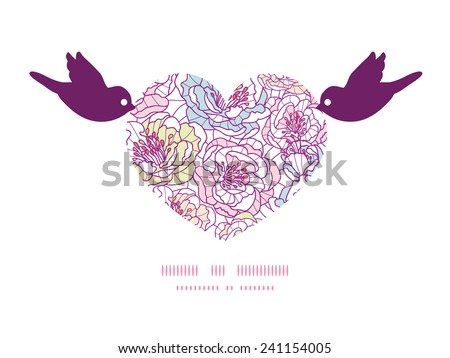 Vector colorful line art flowers birds holding heart silhouette frame pattern invitation greeting card template - stock vector