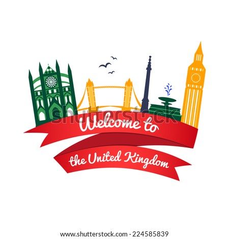 Vector colorful logo landmarks of United Kingdom with ribbon and welcome message - stock vector