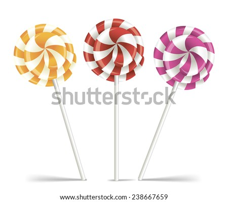 Vector colorful lollipops. Spiral candies. - stock vector