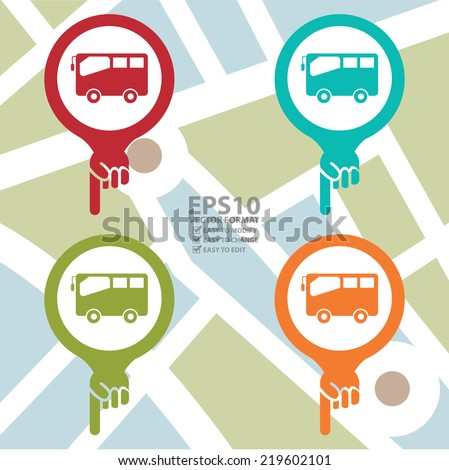 Vector : Colorful Map Pointer Icon With Bus, Bus Stop, Bus Station or Bus Rental Service Sign Isolated on White Background  - stock vector