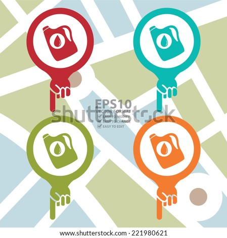 Vector : Colorful Map Pointer Icon With Car Lube and Oil Change Service or Car Maintenance Services Sign in POI Map Background  - stock vector
