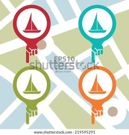 Vector : Colorful Map Pointer Icon With Sailboat, Seaport, Sea Transportation, Sea, Beach, Ocean or Bay Sign in POI Map background - stock vector
