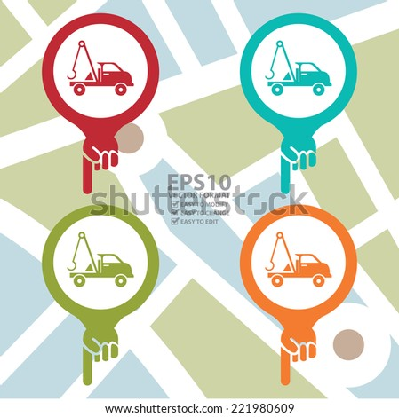 Vector : Colorful Map Pointer Icon With Tow Car, Roadside Assistance Service Sign in POI Map Background  - stock vector