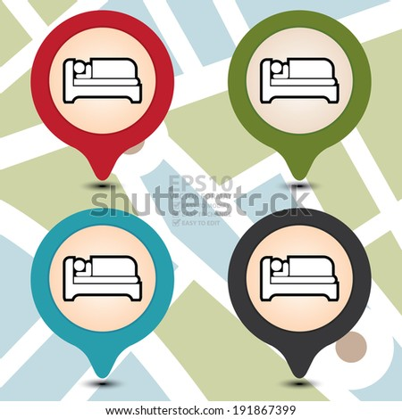 Vector : Colorful Map Pointer With Hotel, Motel, Guesthouse, Accommodation or Bed Icon on POI Map Background - stock vector