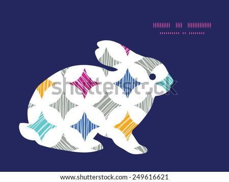 Vector colorful marble textured tiles bunny rabbit silhouette Easter frame - stock vector