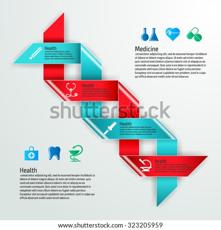Vector colorful medicine infographics for your business presentations. Can be used for info graphics, graphic or website layout vector, numbered banners, diagram, web design. - stock vector