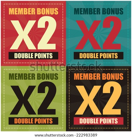 Vector : Colorful Member Bonus x2 Double Point Label, Icon, Sticker, Brochure, Leaflet or Poster - stock vector