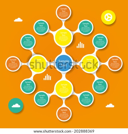 vector colorful metaball round diagram infographics for presentations. can be used for business, marketing templates and graphics - stock vector