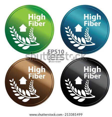 Vector : Colorful Metallic Style High Fiber Icon, Badge, Label or Sticker for Healthy, Medical and Healthcare, Weight Loss, Diet, Fitness Product or Product Information Concept Isolated on White - stock vector