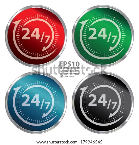 Vector : Colorful Metallic Style 24/7 Icon, Button or Label for Work Hour, Customer Service, Support or CRM Concept Isolated on White Background  - stock vector