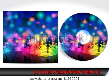 Vector colorful music themed CD cover presentation template design
