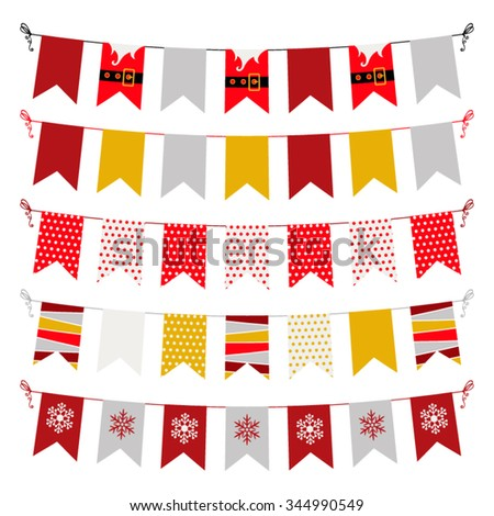 Vector colorful New year and Christmas bunting and garland set in flat style. Christmas vector decoration set. Vector illustration - stock vector