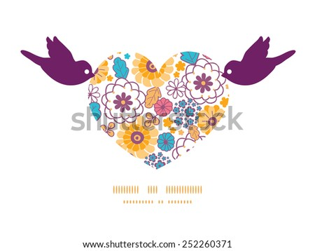 Vector colorful oriental flowers birds holding heart silhouette frame pattern invitation greeting card template - stock vector