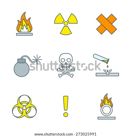vector colorful outline hazardous waste symbols warning signs icons white background