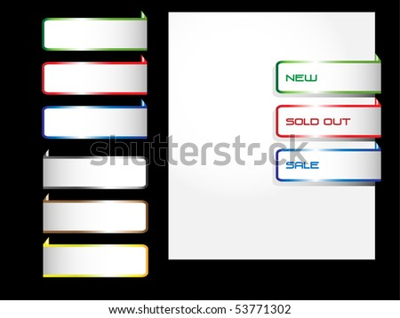 Vector colorful paper tags for web. - stock vector
