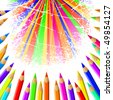 Vector colorful pencil background - stock photo