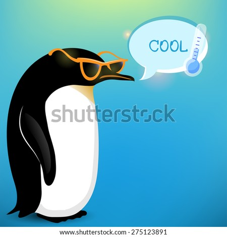 vector colorful penguin on cold background - stock vector