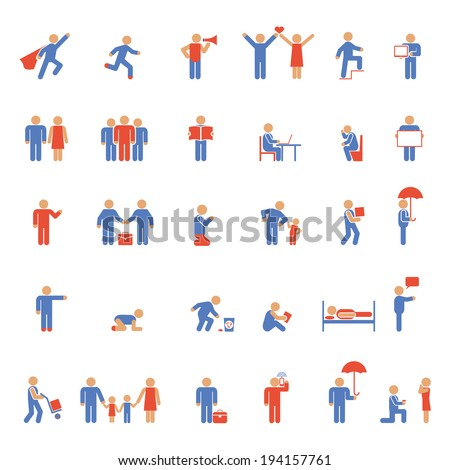 Vector colorful people icons. Rest, work and family