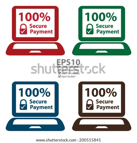 Vector : Colorful 100 Percent Secure Payment Notebook or Laptop Icon or Label Isolated on White Background - stock vector