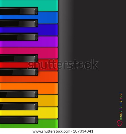vector colorful piano keyboard on a black background - stock vector