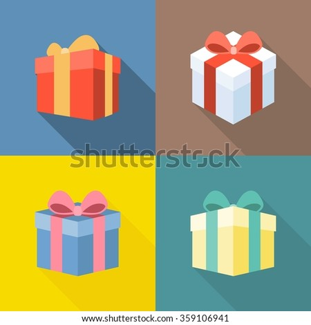 Vector colorful present box icons set, flat design with long shadow - stock vector