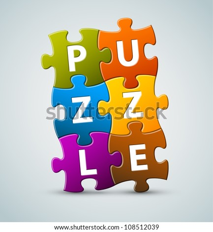Vector colorful puzzle lettering - made from puzzle pieces - stock vector