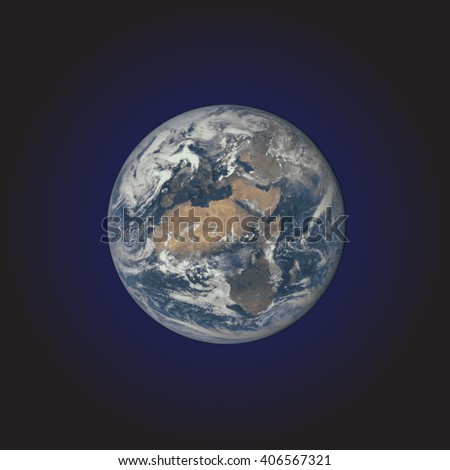 vector colorful realistic planet Earth globe isolated illustration on dark space background