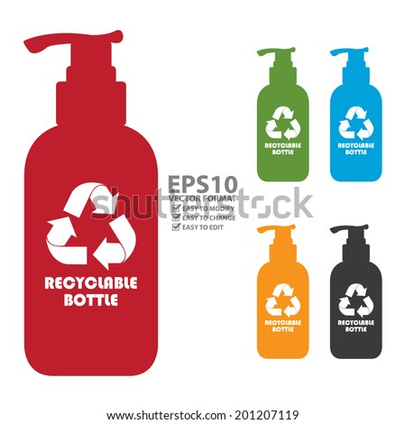 Vector : Colorful Recyclable Bottle Icon, Sign or Label Isolated on White Background - stock vector