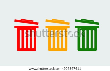 vector Colorful recycle garbage can - stock vector