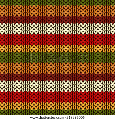 Vector colorful seamless knitting wool pattern. Needlework knit texture background. Ornamental knitted strip backdrop.