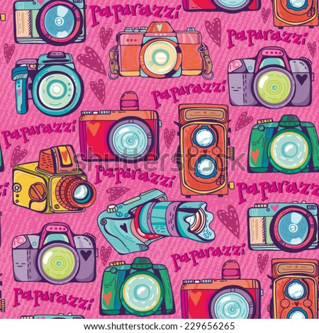 Vector Colorful seamless Pattern of Cute Retro Cameras.  - stock vector