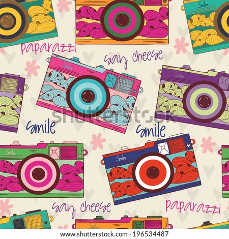 Vector Colorful Seamless Pattern With Cute Retro Cameras Used For Wallpaper Fills