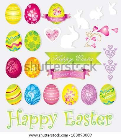 Vector colorful set of easter elements � eggs, rabbits, ribbons - stock vector