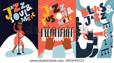 Vector colorful set of poster with hand drawn illustration with singer and Hand drawn lettering Jazz, Soul, Fusion, Music live. Singer, piano, trumpet players