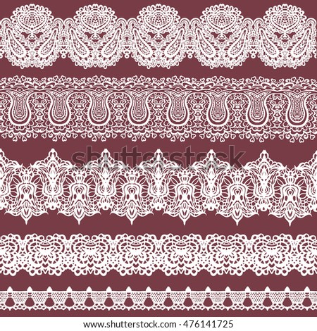 Vector colorful set of white lace ribbons isolated on a brown background. Seamless horizontal fishnet borders