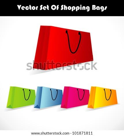 Vector colorful shopping bags set - stock vector